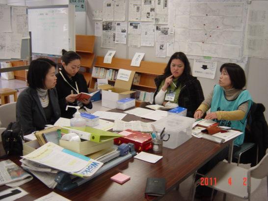 左からチエさん、pi63ちゃん、わたし、オータニさん at 五橋の社会福祉センター5F災ボラセンター内